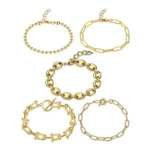 Layered 14K Gold Set Bracelets